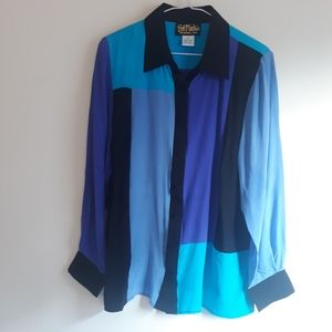 Vintage Bob Mackie Wearable Art 100% Silk Shirt